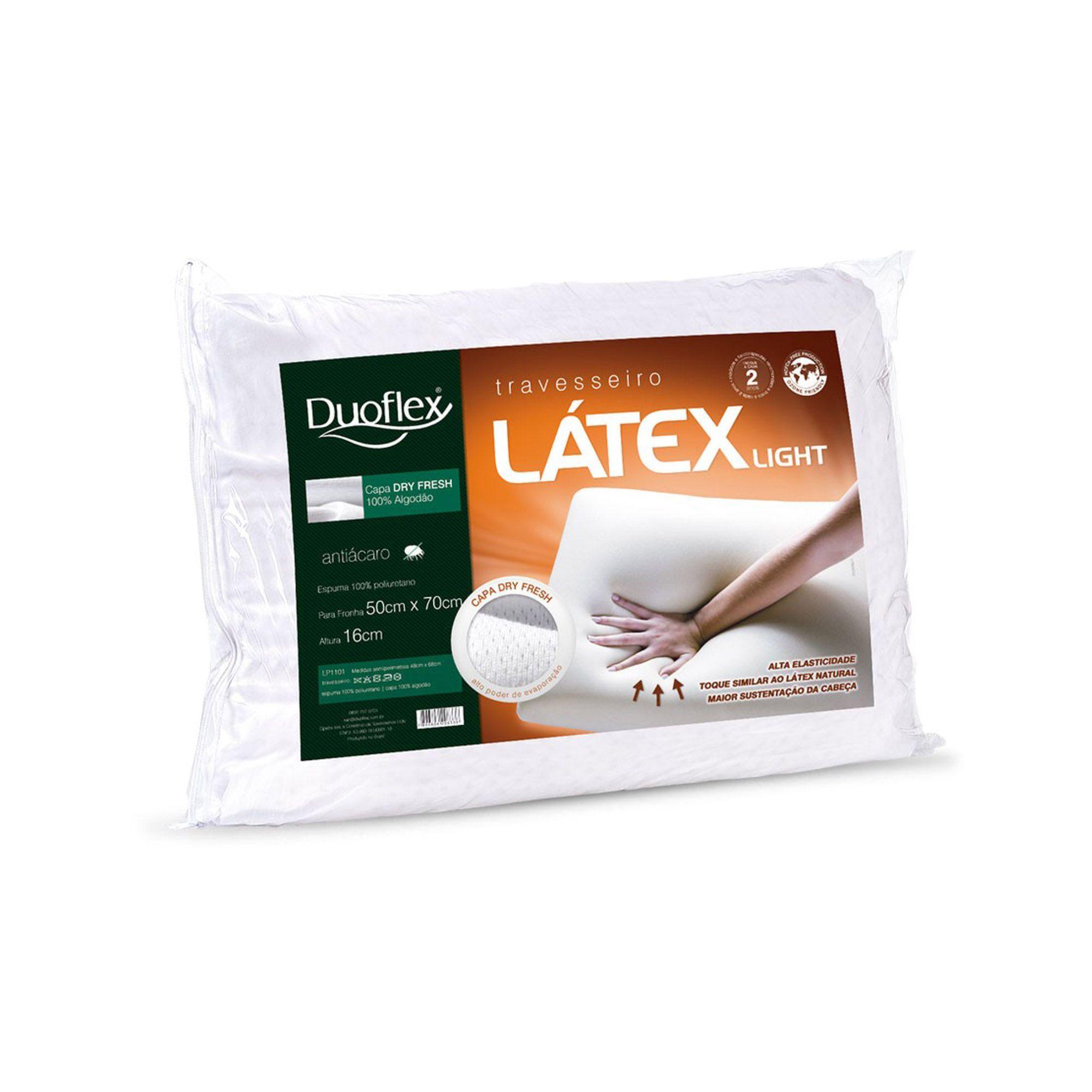 Travesseiro Duoflex Látex Light, Intermediário, 050 x 070 x 016 cm