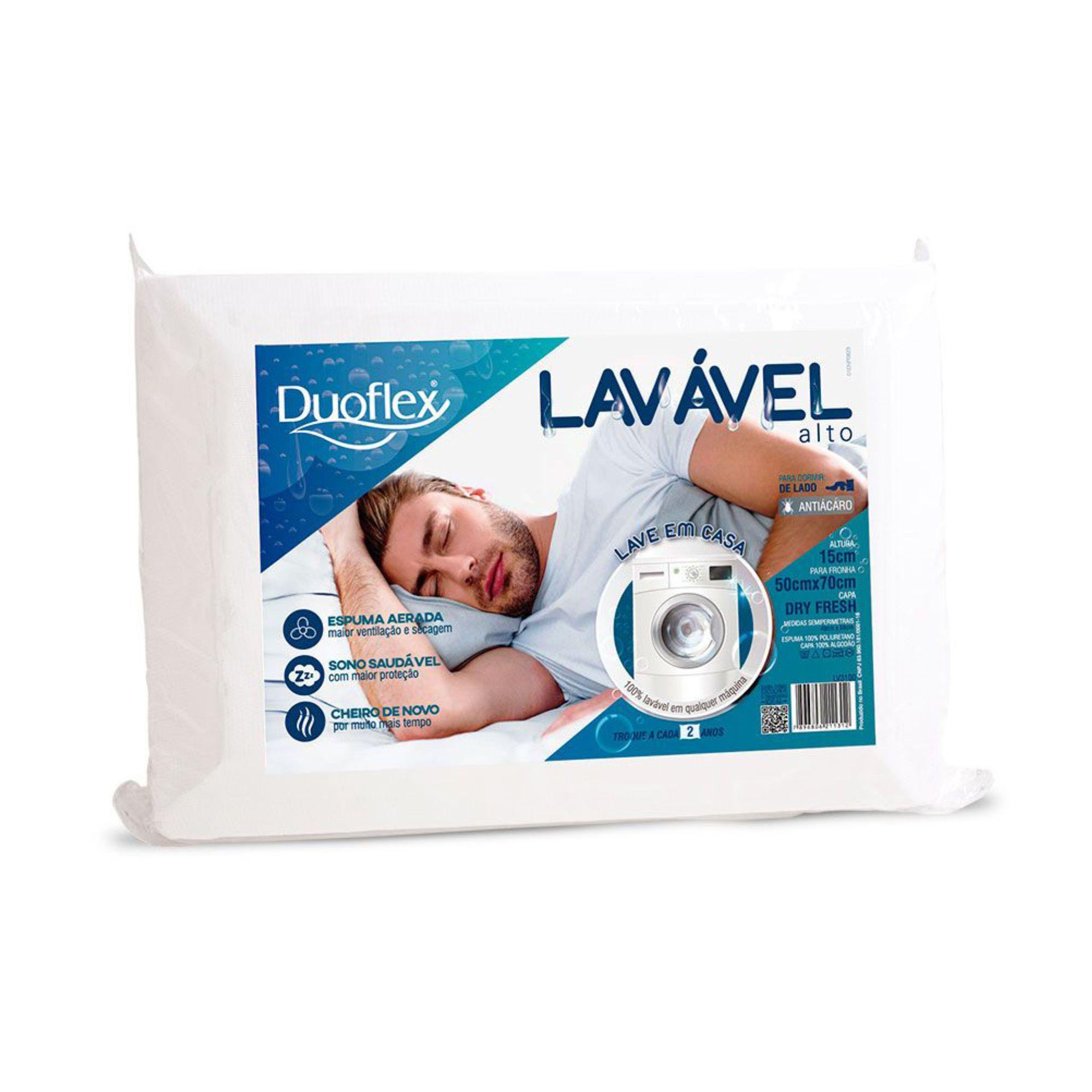 Travesseiro Lavável Alto 050 x 070 x 015 cm