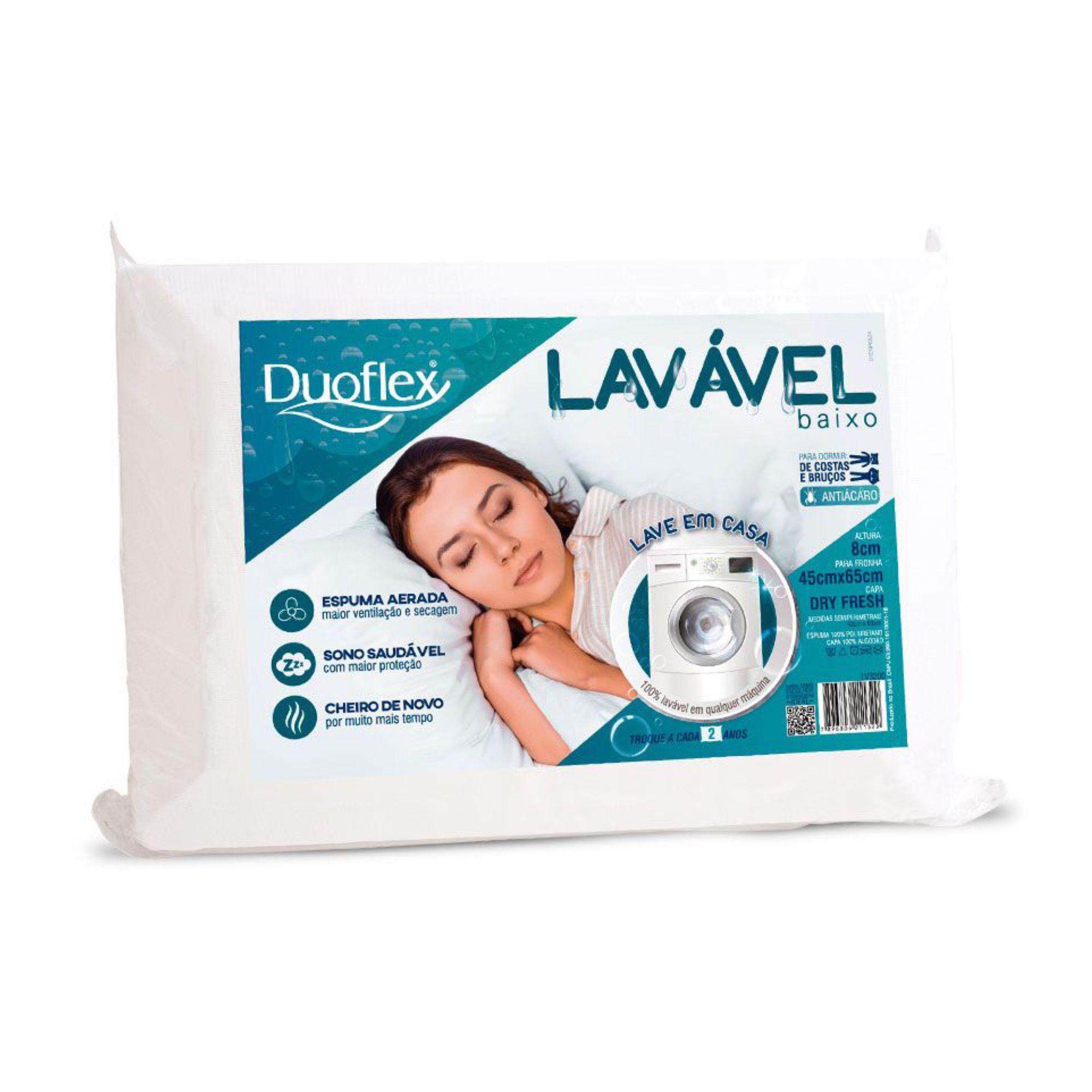 Travesseiro Duoflex Lavável Baixo, Intermediário, 045 x 065 x 008 cm