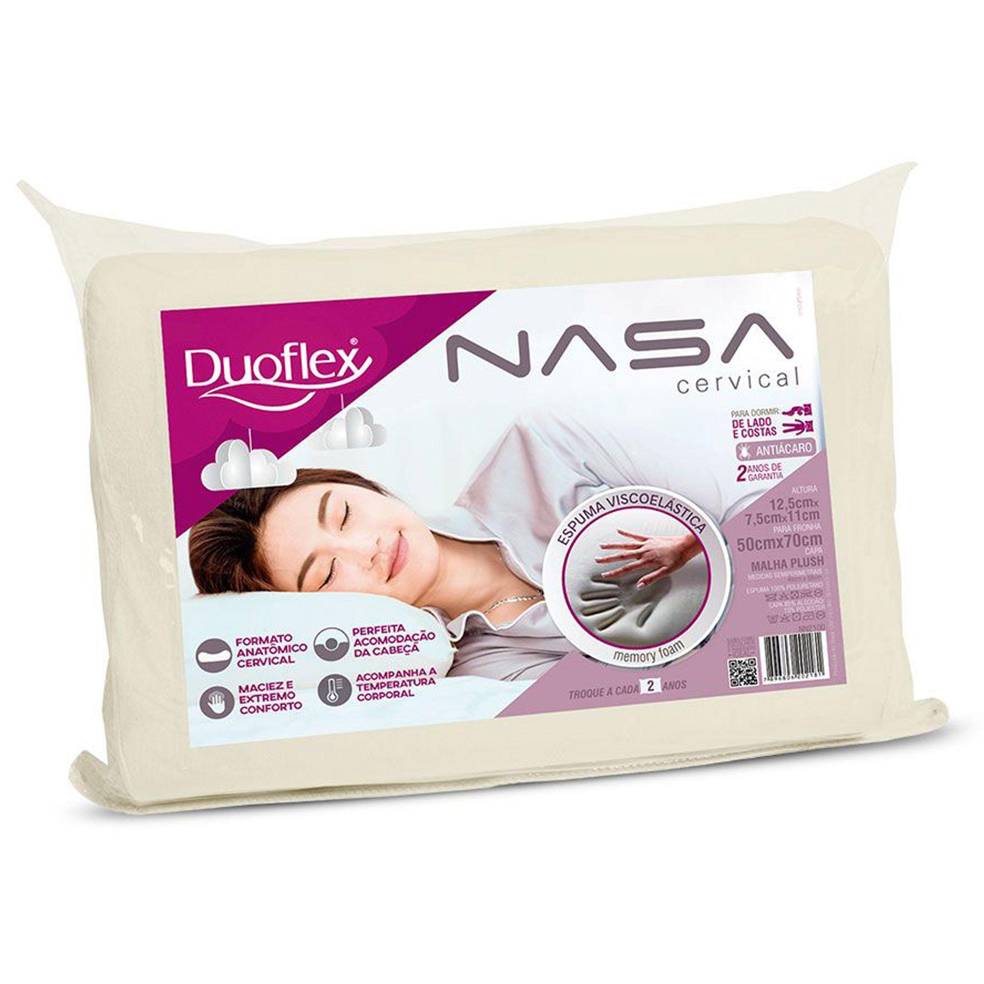 Travesseiro Duoflex Nasa Cervical, Intermediário, 050 x 070 cm