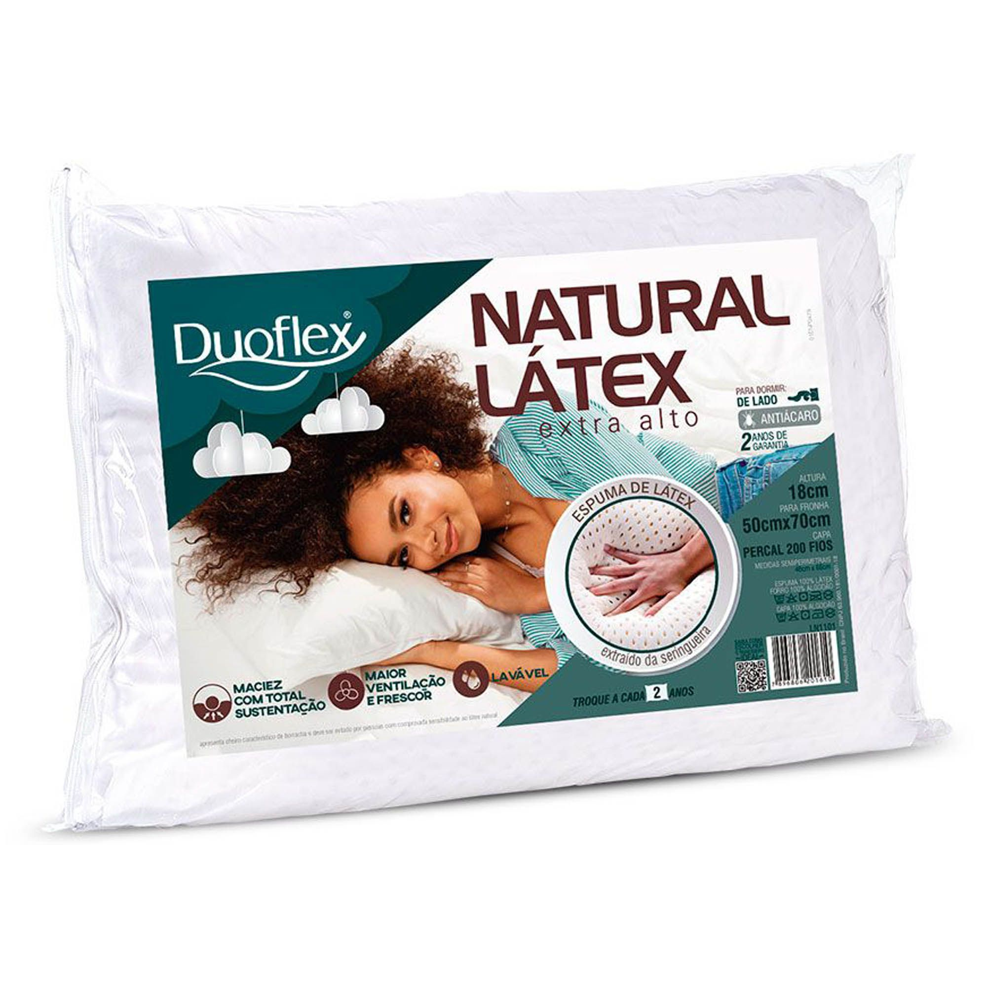 Travesseiro Duoflex Natural Látex Extra Alto, Firme, 050 x 070 x 018 cm