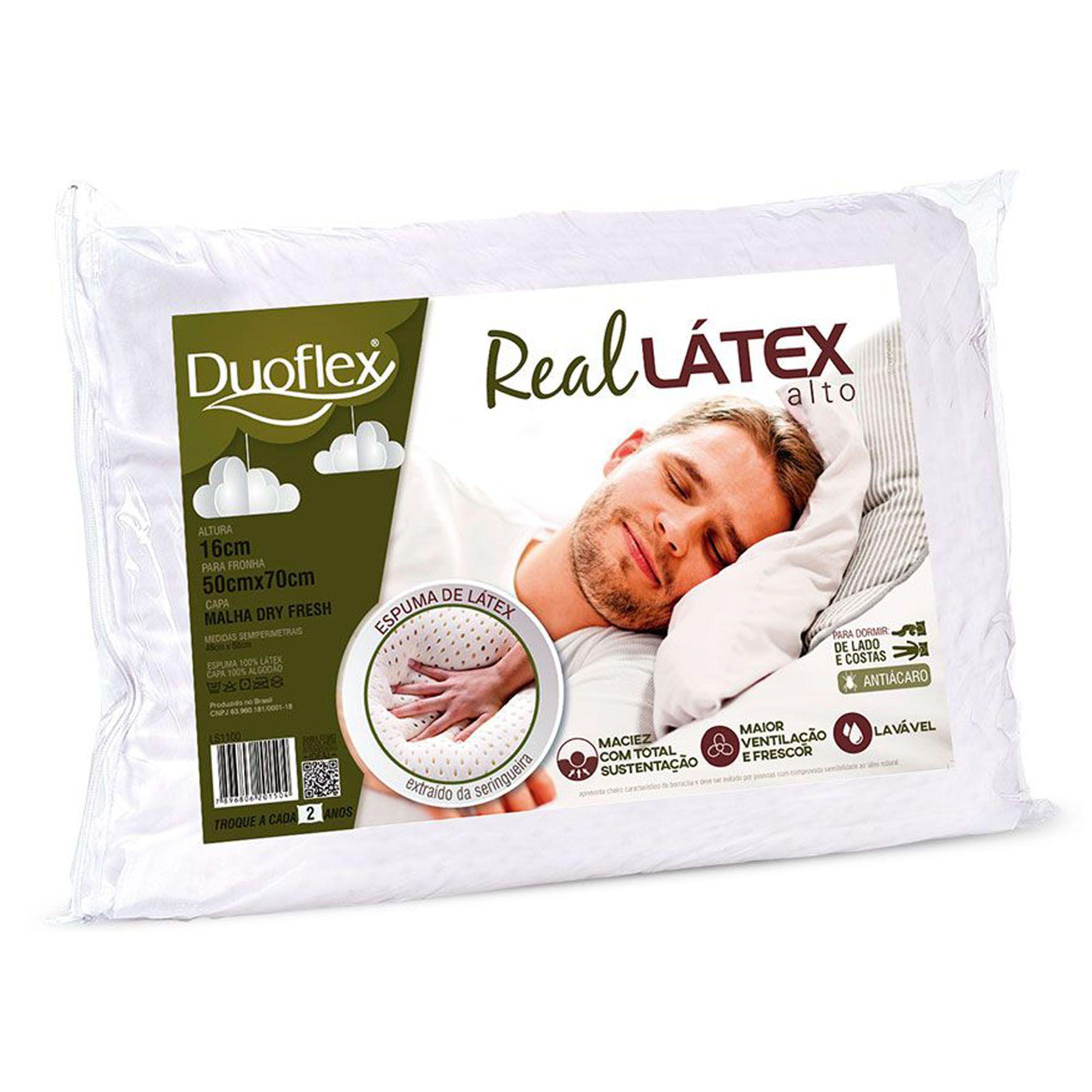 Travesseiro Duoflex Real Látex Alto, Intermediário, 050 x 070 x 016 cm