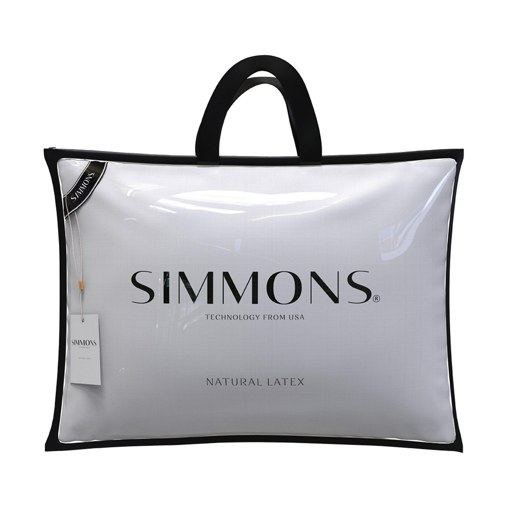 Travesseiro Simmons Natural Látex Alto, 050 x 070 x 016 cm