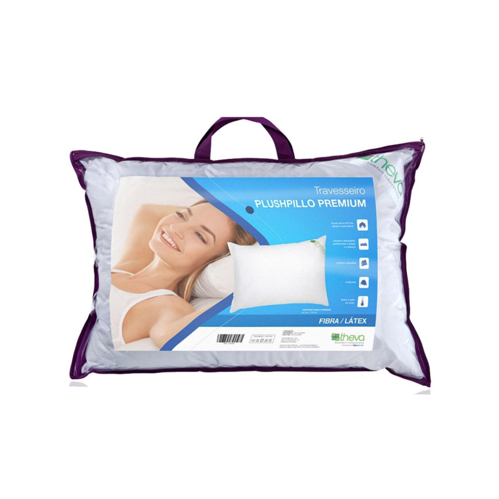 Travesseiro Theva Plushpillo Premium Látex e Fibra, Intermediário, 050 x 070 cm