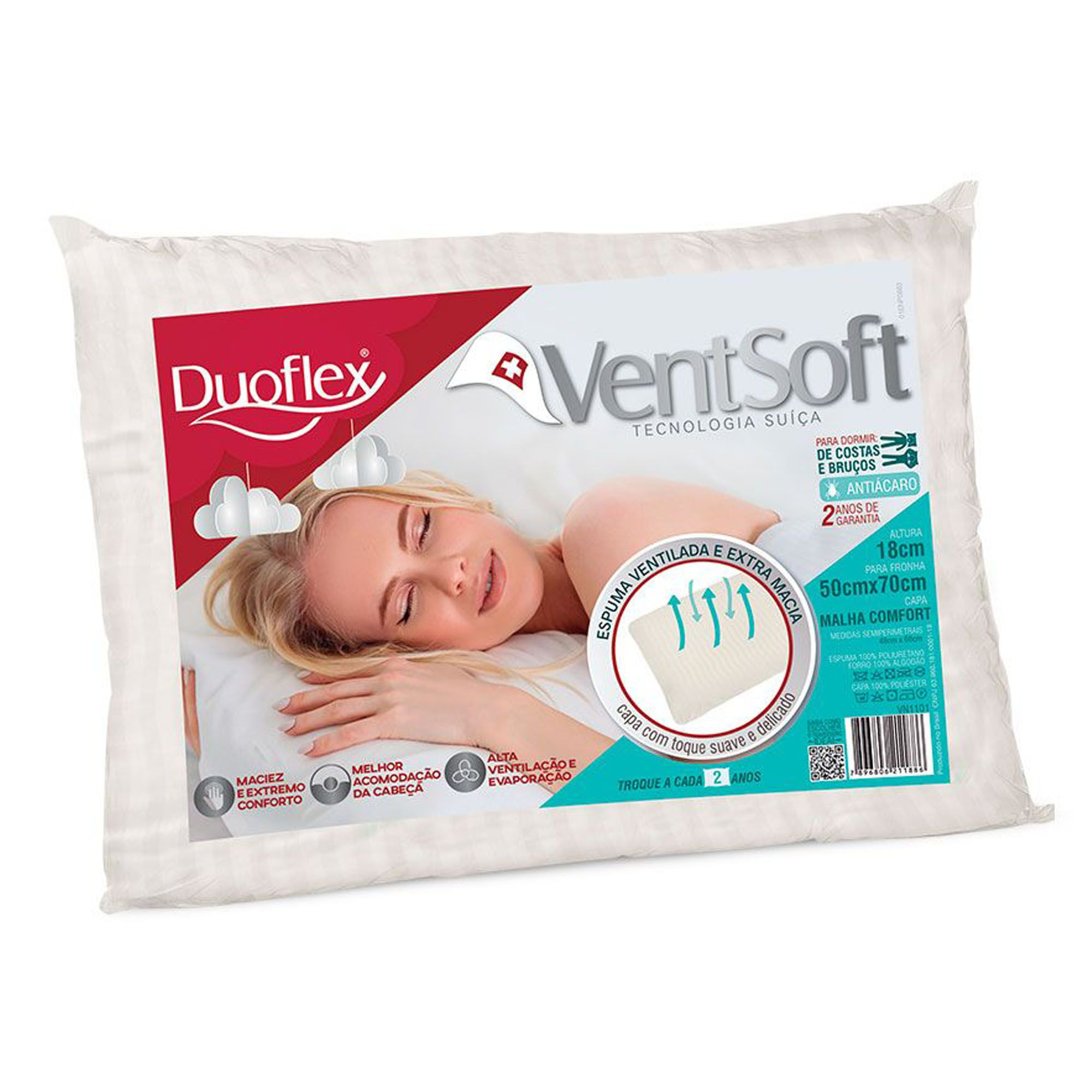 Travesseiro Ventsoft 050 x 070 x 018 cm