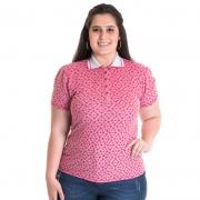 Camisa Polo Feminina Plus Size Piquet Estampado 96804
