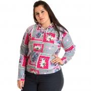 Jaqueta Moletom Estampado Plus Size 81102
