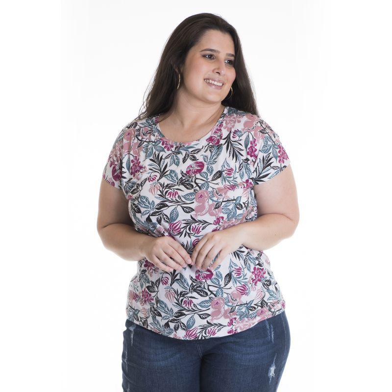 Blusa Feminina Plus Size Viscose Estampada 12816