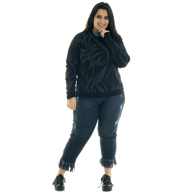 Blusão Moletom Básico Estampado Plus Size 3871623