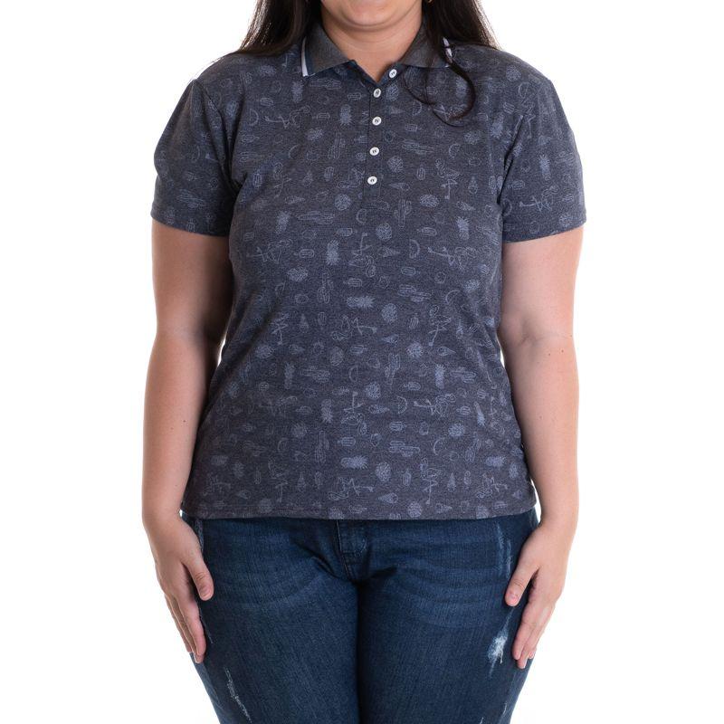 Camisa Polo Feminina Plus Size Piquet Estampado 96801