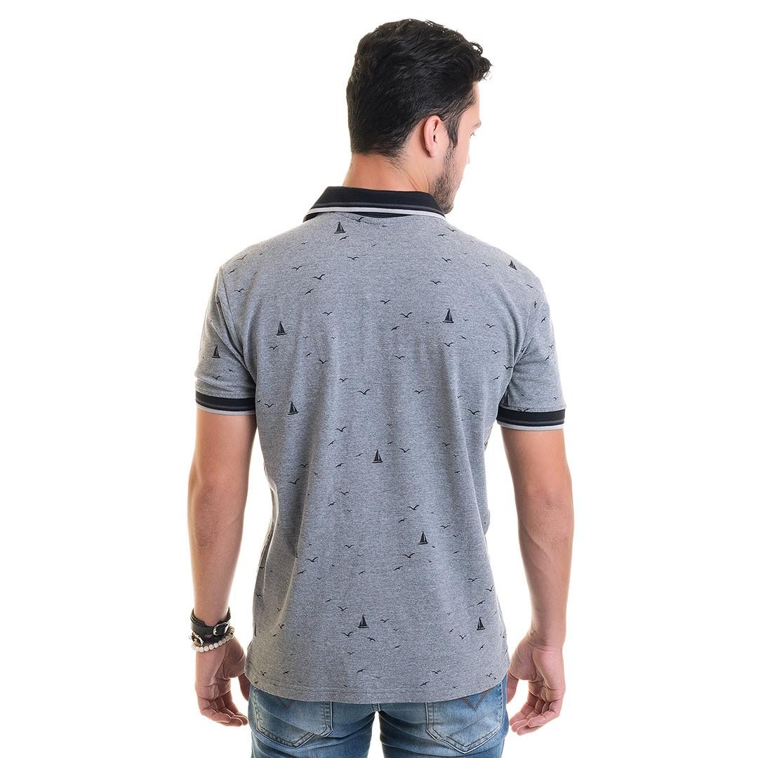 Camisa Polo Masculina Piquet Estampada 33609