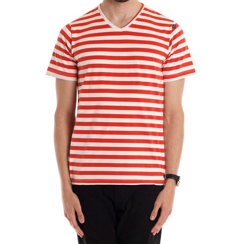Camiseta Decote V Manga Curta Listrada 117601
