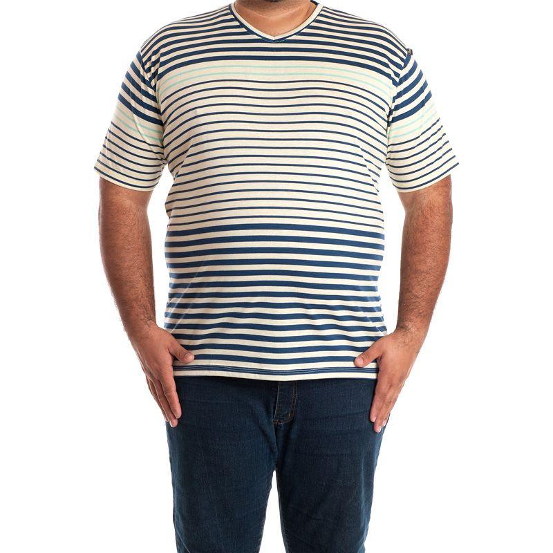 Camiseta Decote V Manga Curta Plus Size 115225