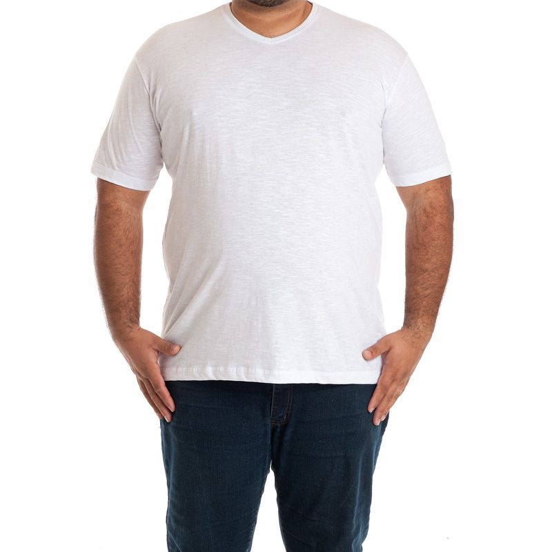 Camiseta Decote V Manga Curta Plus Size 115709
