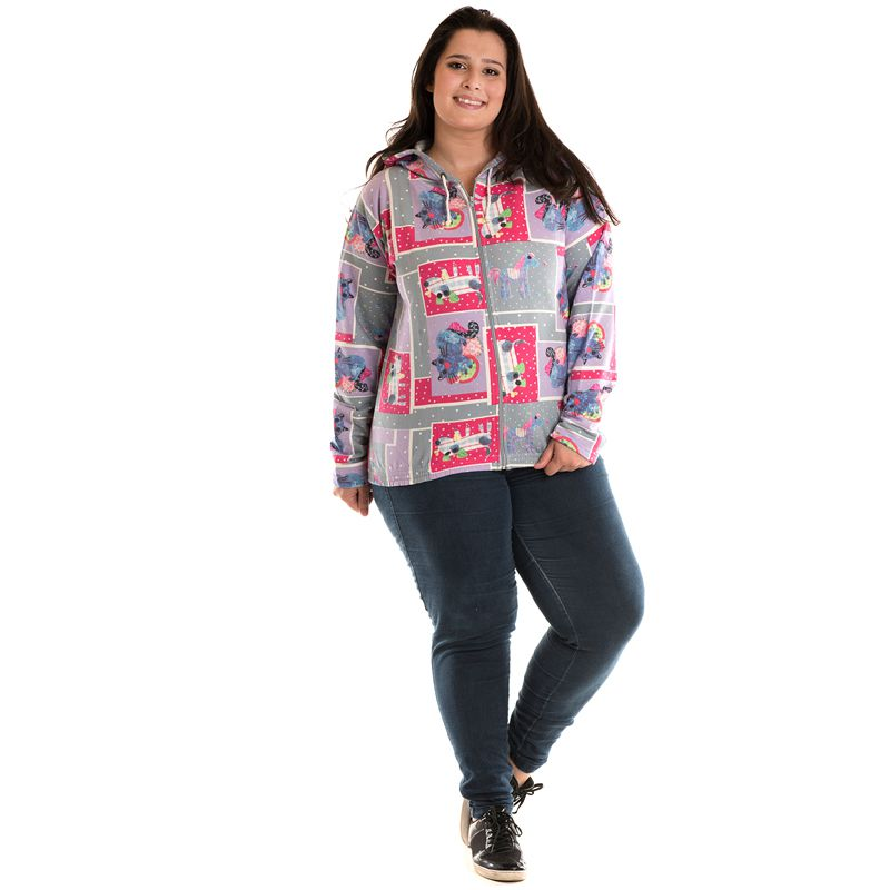 Jaqueta Moletom Estampado Plus Size 81102