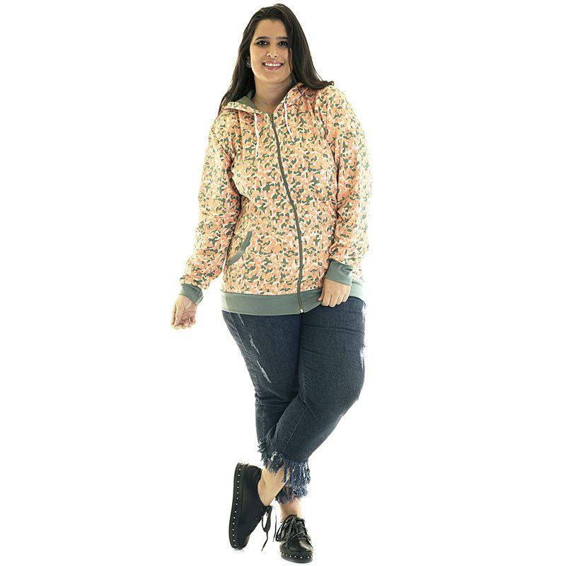 Jaqueta Moletom Estampado Plus Size 85215