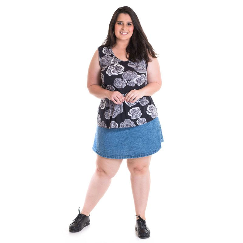 Regata Feminina Plus Size Viscose Estampada 41202