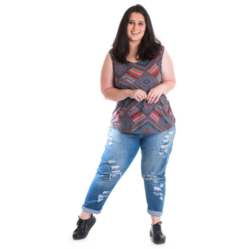 Regata Feminina Plus Size Viscose Estampada 41208