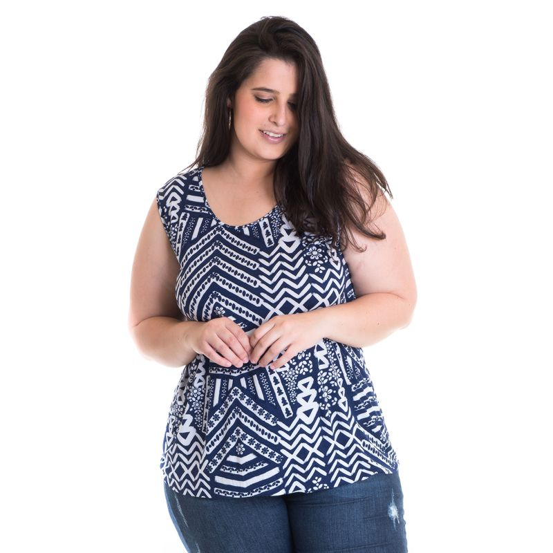 Regata Feminina Plus Size Viscose Estampada 41212