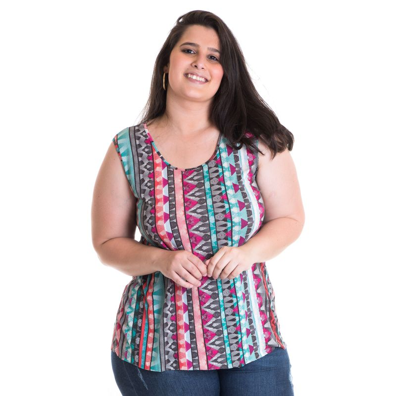 Regata Feminina Plus Size Viscose Estampada 41214