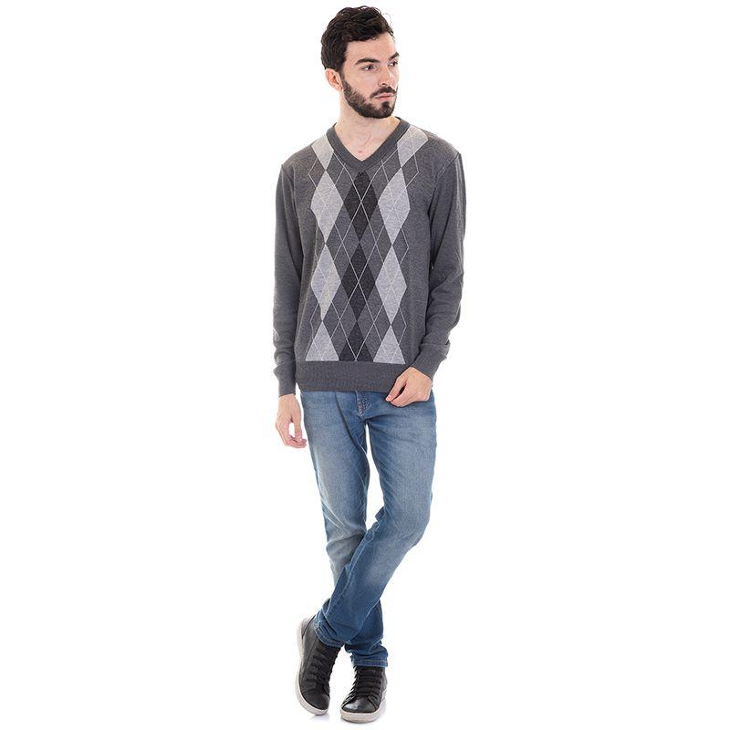 Suéter Decote V Losango 7055
