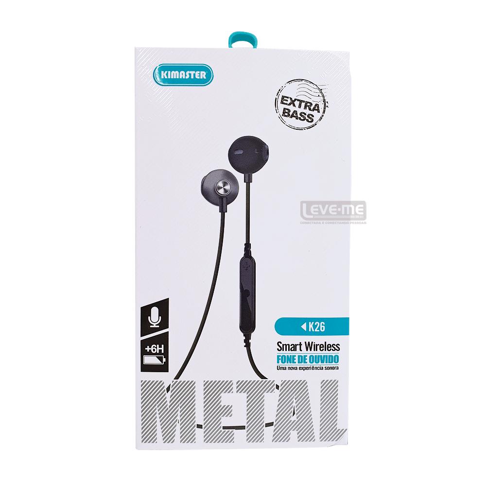 Fone de ouvido sem fio Bluetooth Wireless Kimaster K26