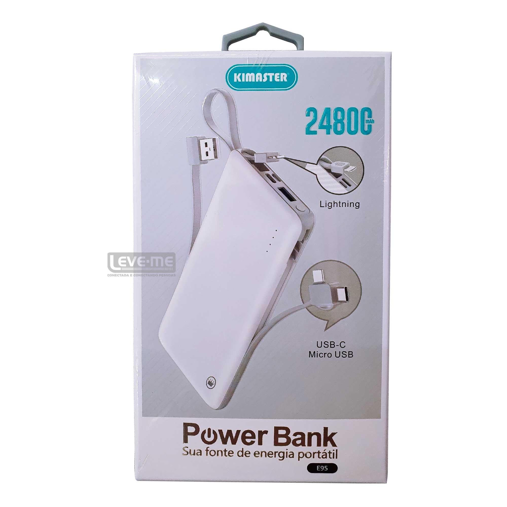 Power Bank com cabo removível 24800MAH