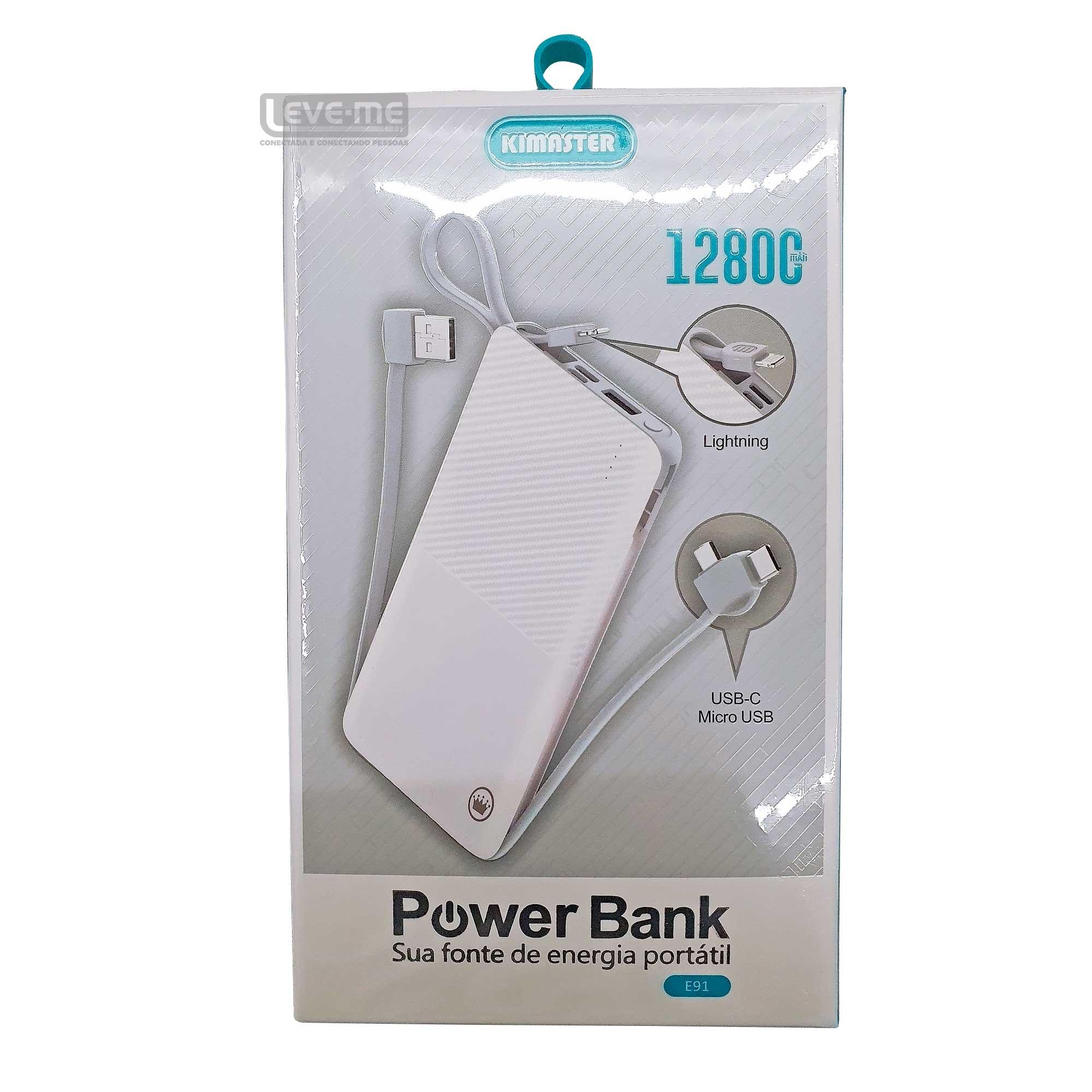 Power Bank Slim com cabo removível