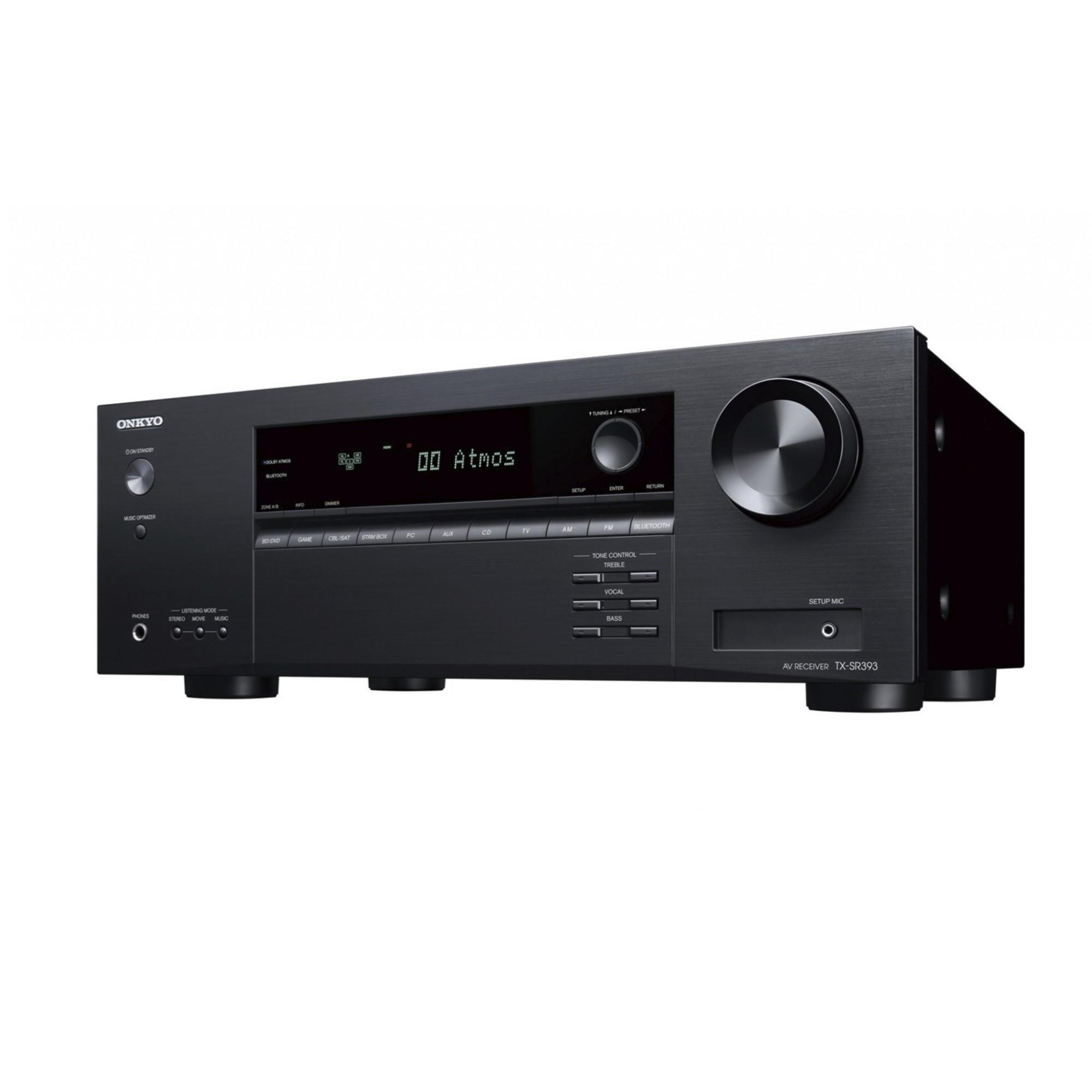 Onkyo TX-SR393 Receiver 5.2 canais 4K Bluetooth Virtual Dolby Atmos DTS Virtual:X 110V
