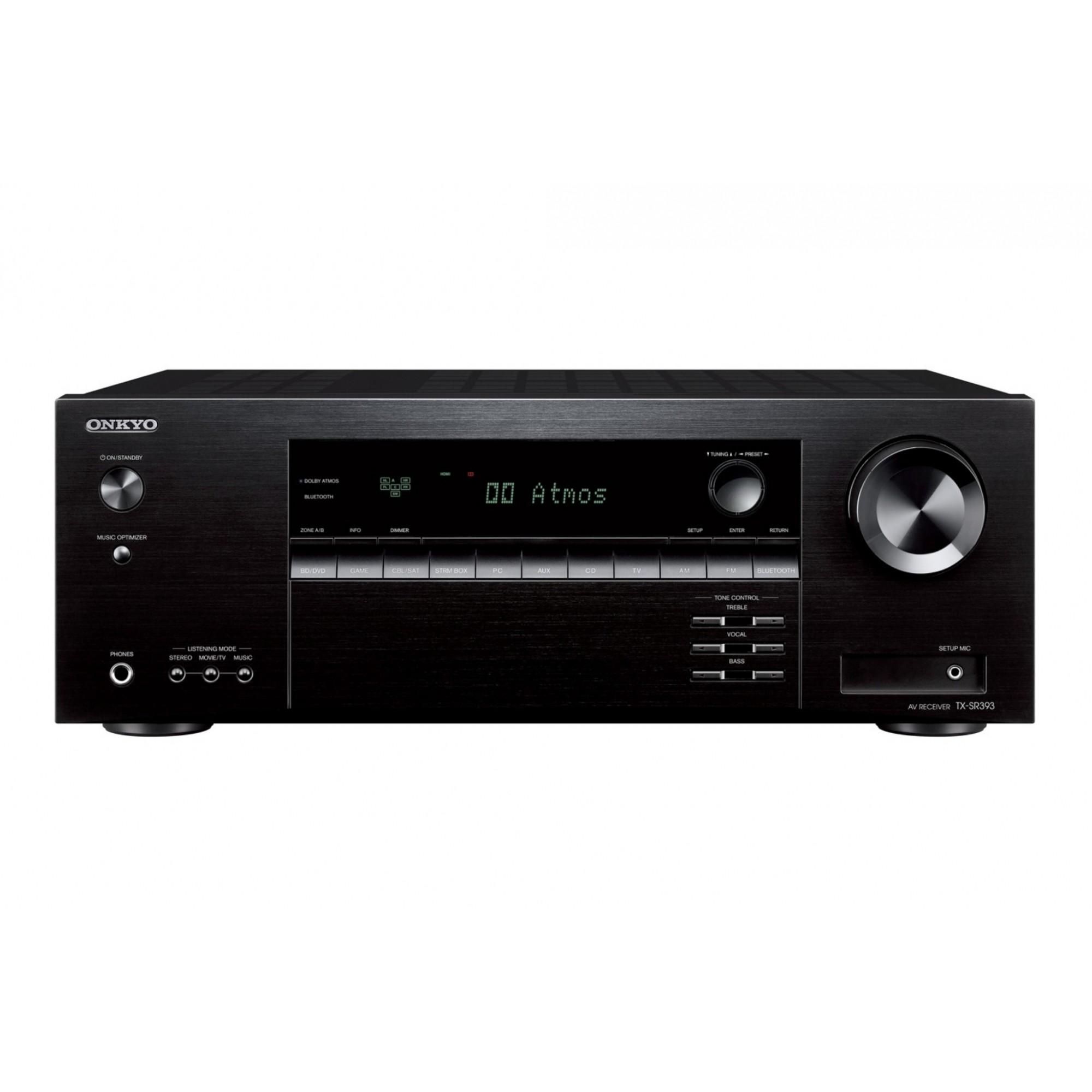 Onkyo TX-SR393 Receiver 5.2 canais 4K Bluetooth Virtual Dolby Atmos 110V