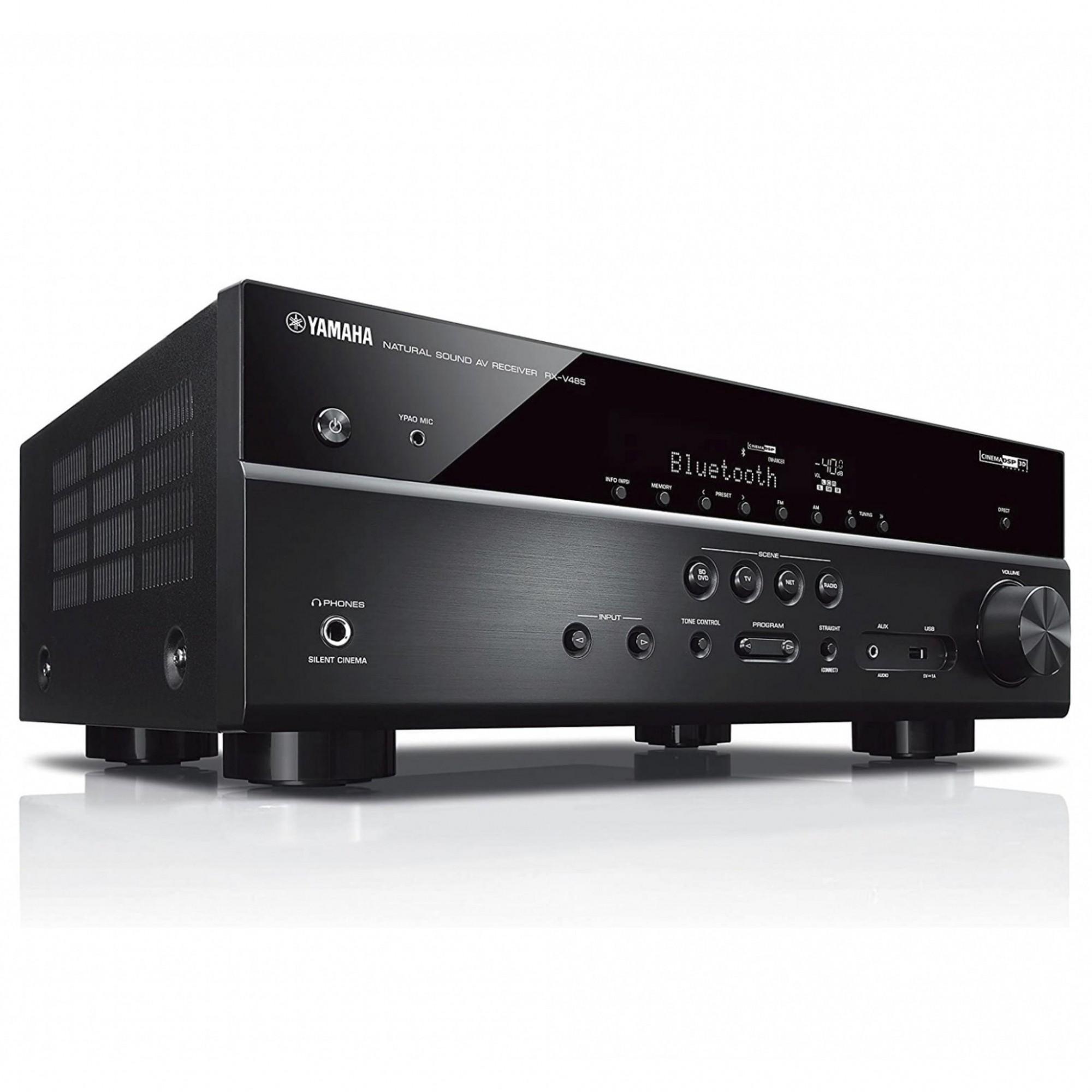 Receiver 5.1ch Yamaha RX-V485 Bluetooth Wi-Fi 4K UHD HDR10 Zona B - Bivolt