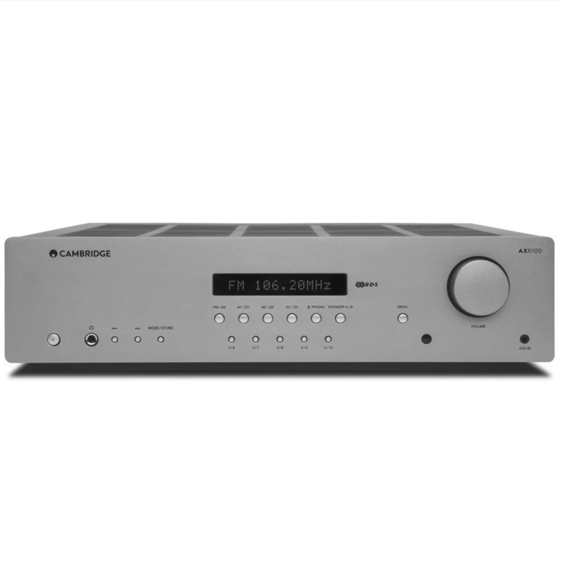 Receiver Cambridge Audio AXR100 FM/AM com RDS, Bluetooth, 100 watts Prata