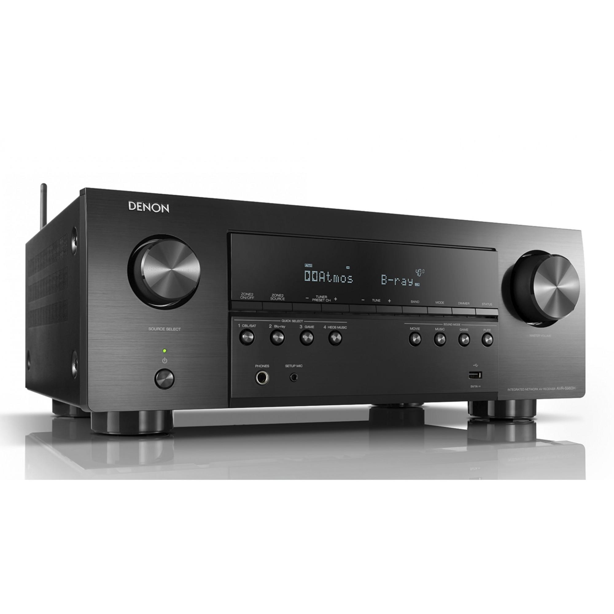 Receiver Denon AVR-S960H ( Modelo 2020 ) Dolby Atmos 7.2CH 90w 5.1.2 canais DTS: Suporte X Preto-120v