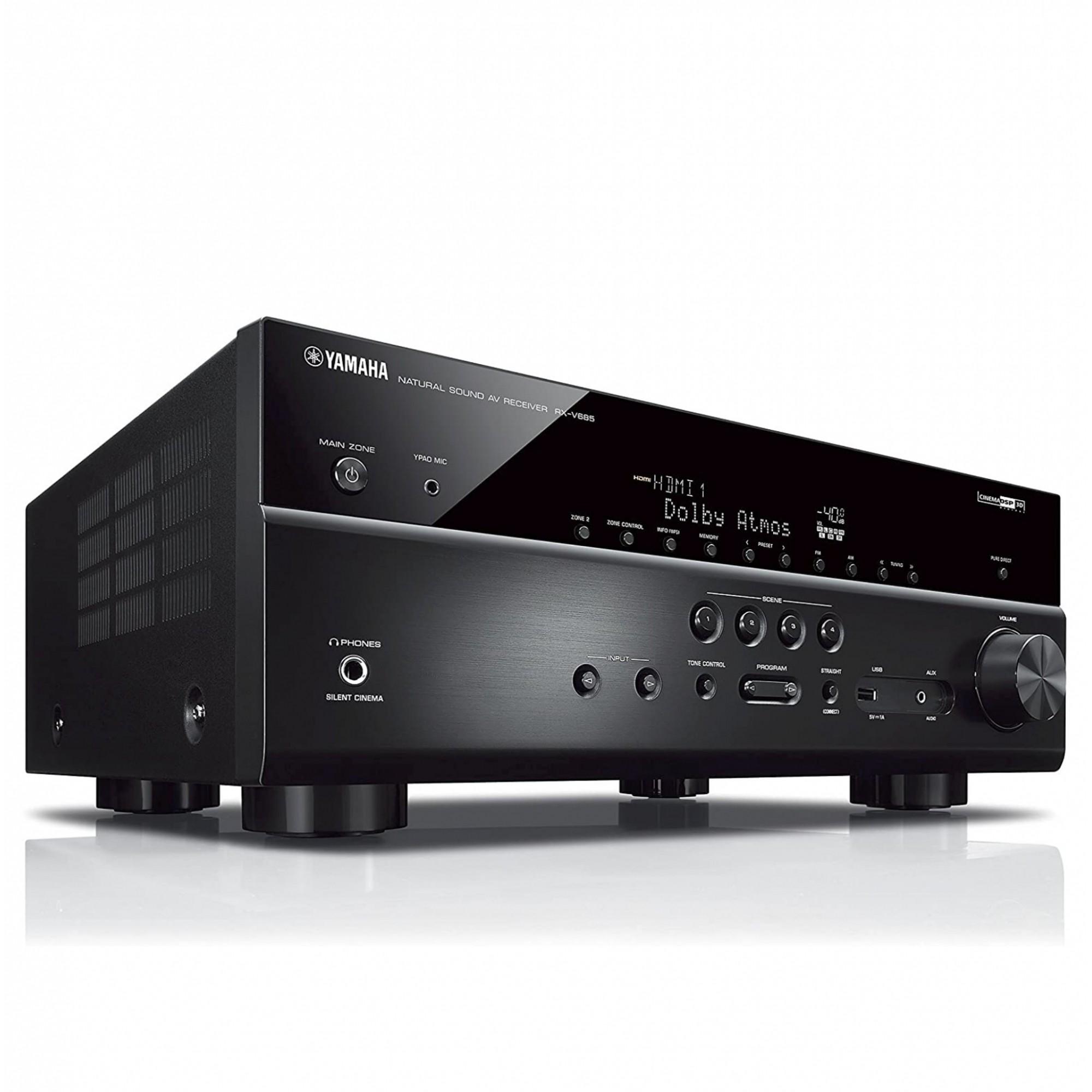 Receiver Yamaha RX-V685 - 7.2ch Phono Dolby Atmos BT Wi-Fi AirPlay 4K UHD HDR10 Zona 2 - Bivolt