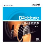 Encordoamento Violão Aço D'addario EJ11 Bronze 80 20 (.012)