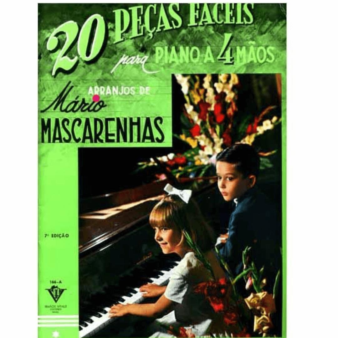 20 Peças Fáceis Para Piano A Quatro Mãos - Mário Mascarenhas Piano A 4 Mãos - 166a