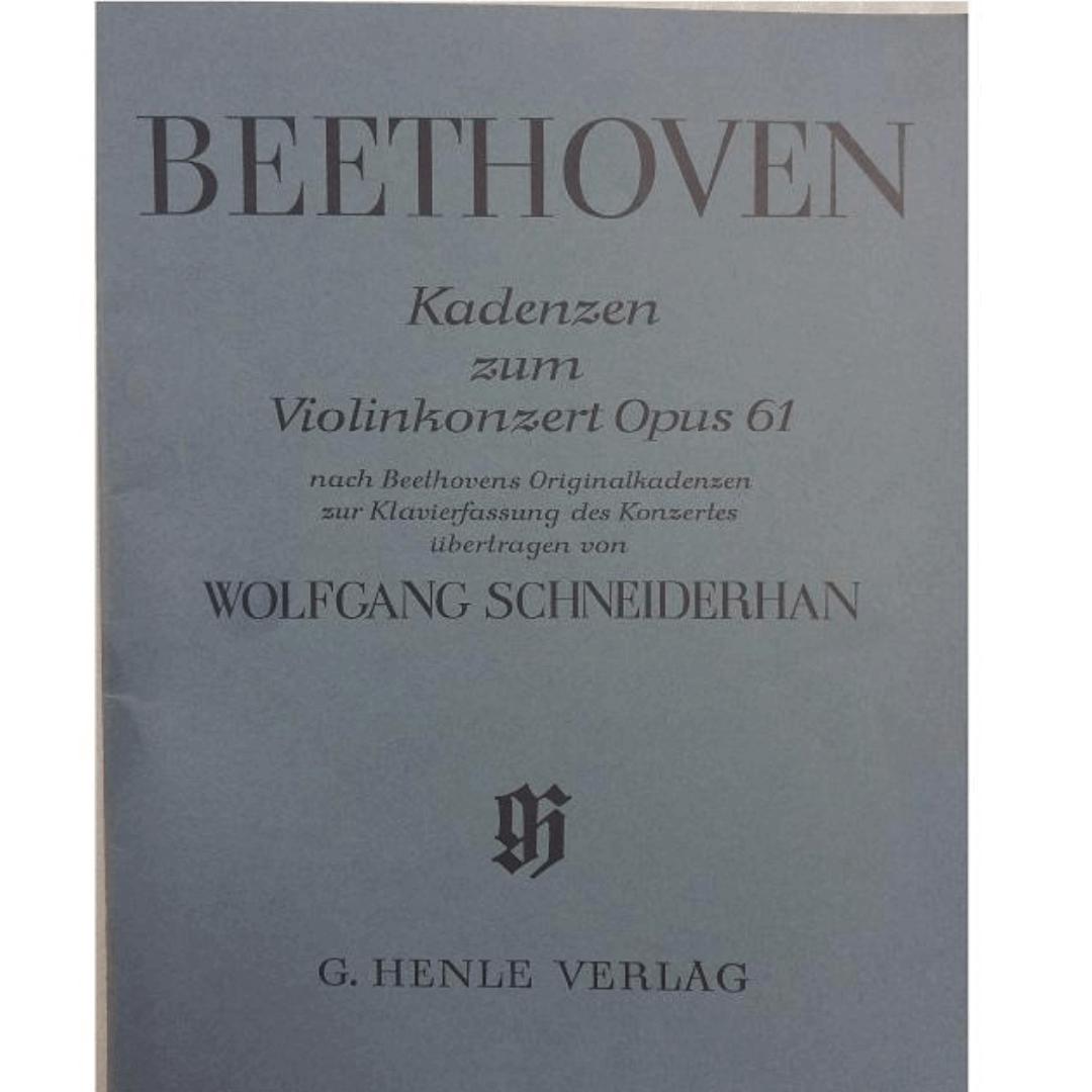Beethoven Kadenzen Zum Violinkonzert Opus 61 - Wolfgang Schneiderhan G.Henle Verlag - 136