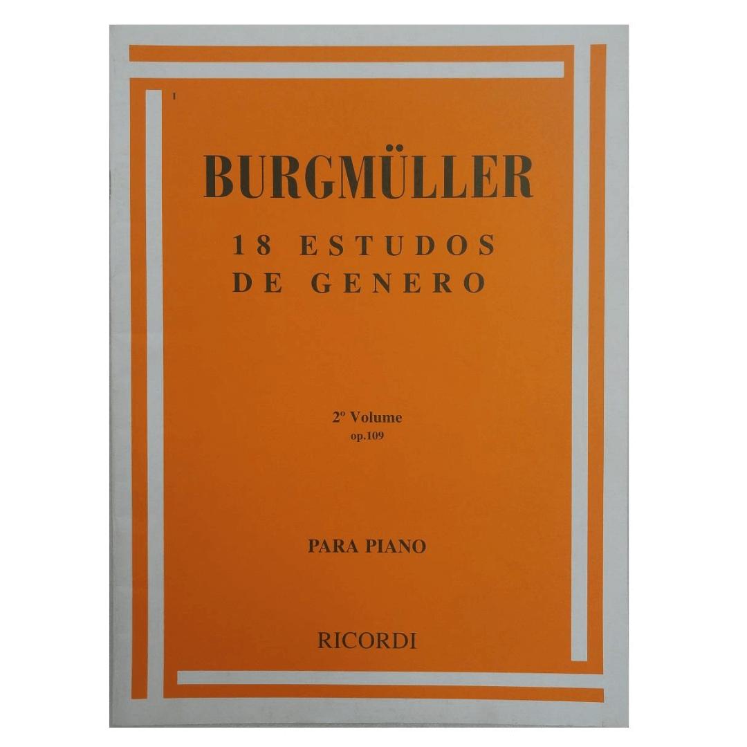 BURGMULLER 18 ESTUDOS DE GÊNERO PARA PIANO - Op. 109 - Volume 2 - RB0001