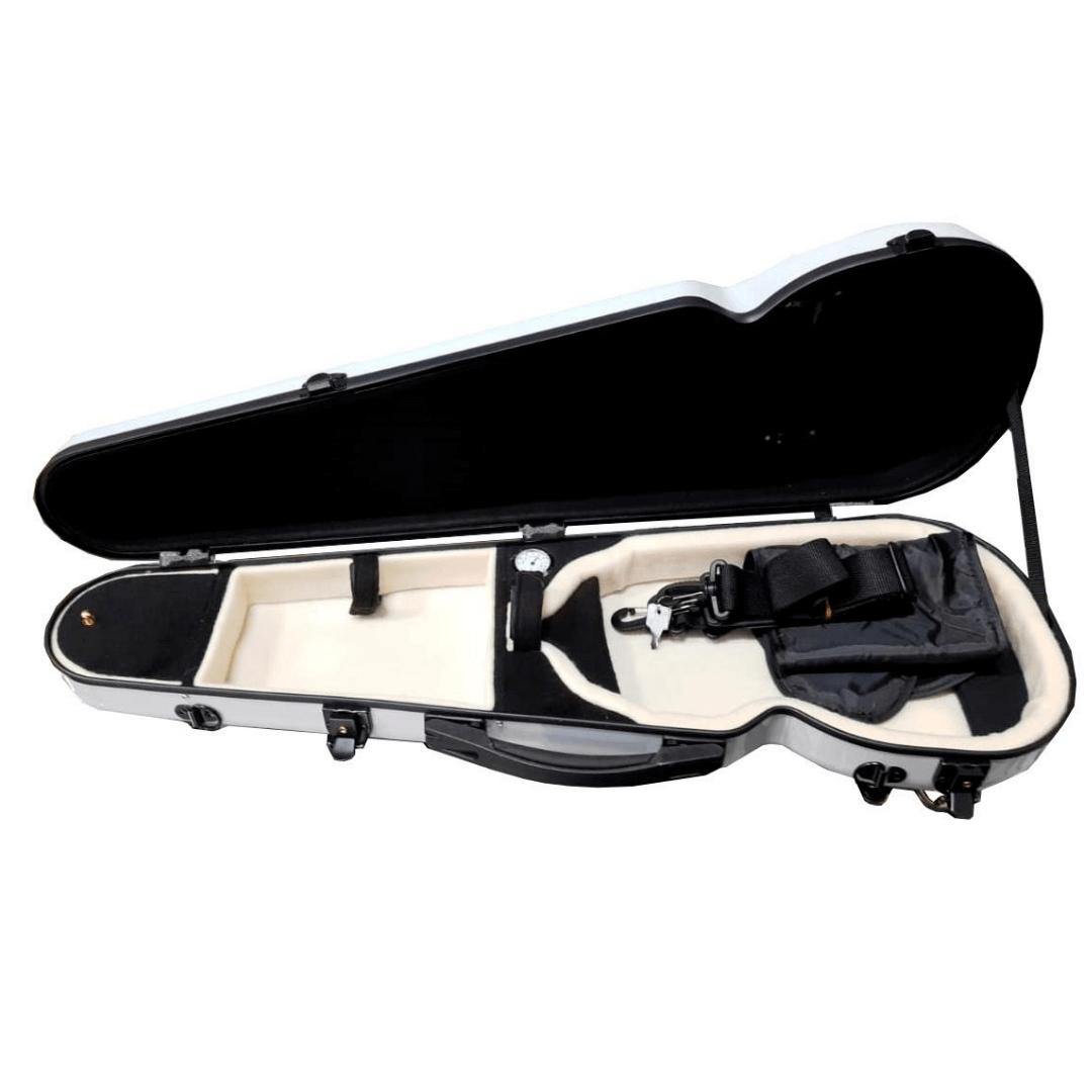 Case de Fibra de Vidro Para Violino Com Bolso Mavis Branco VLS94FC
