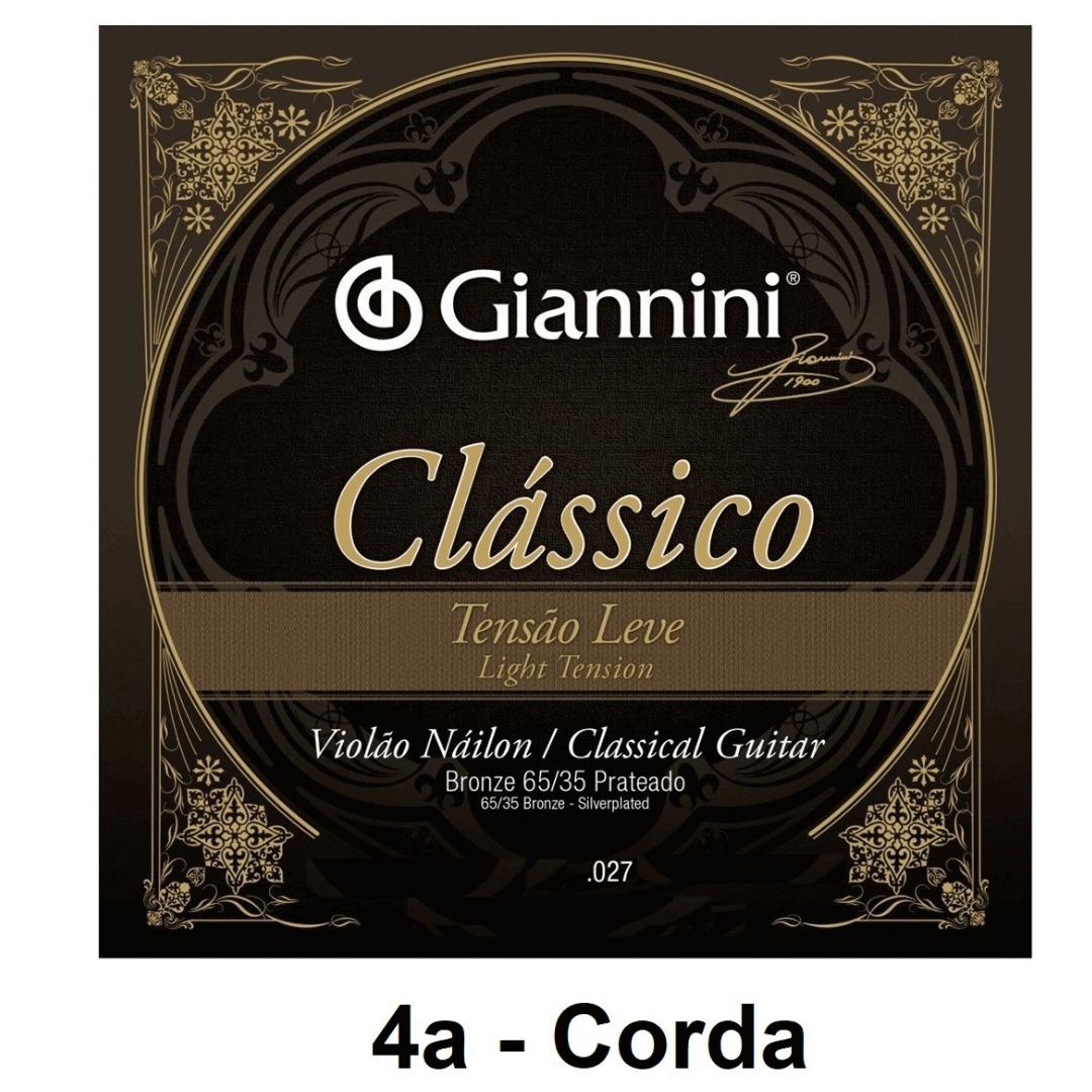 Corda Avulsa Violão Nylon Giannini Clássico Bronze 65/35 Prateado Tensão Leve 0.027 - GENWPL.4 - 4a