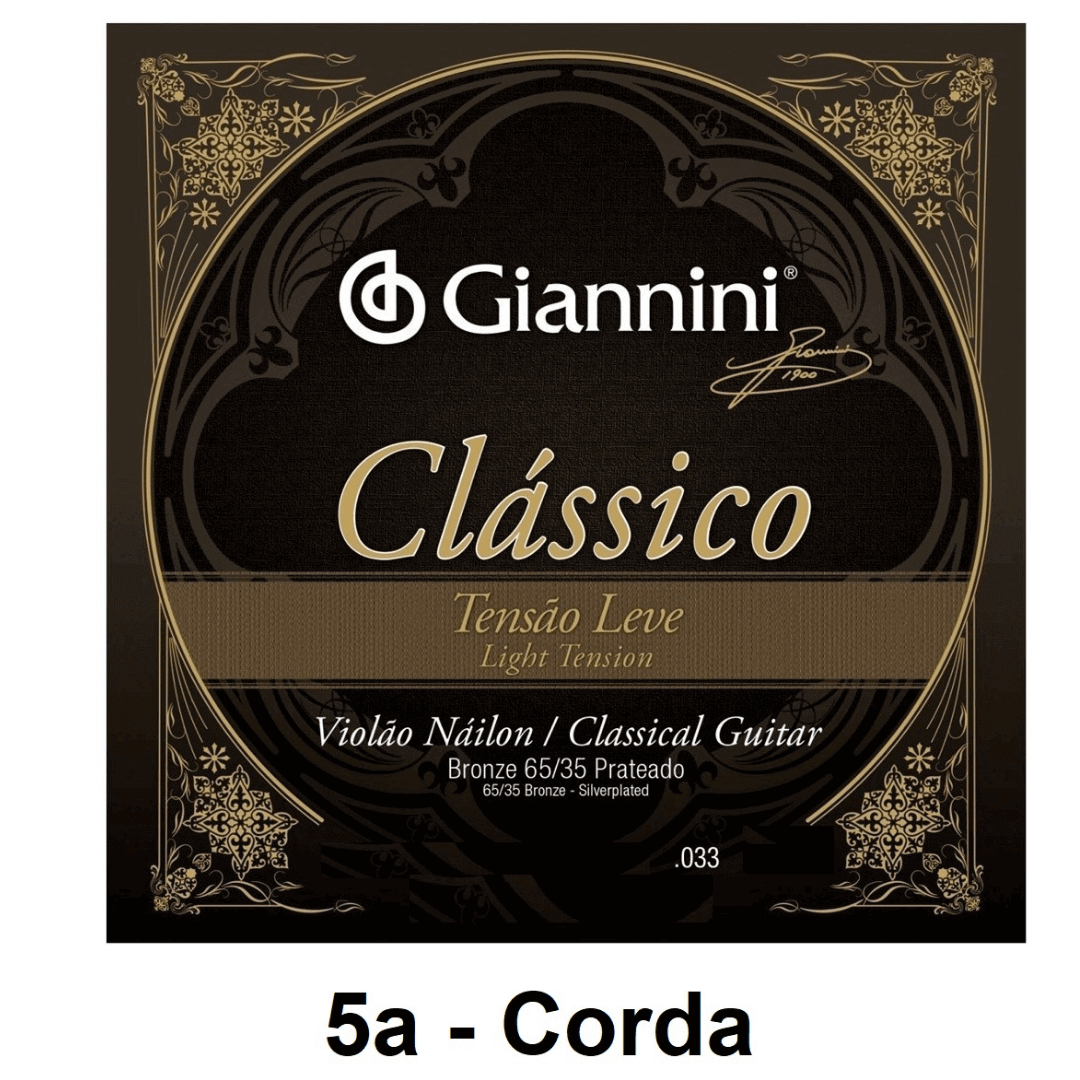 Corda Avulsa Violão Nylon Giannini Clássico Bronze 65/35 Prateado Tensão Leve 0.033 - GENWPL.5 - 5a