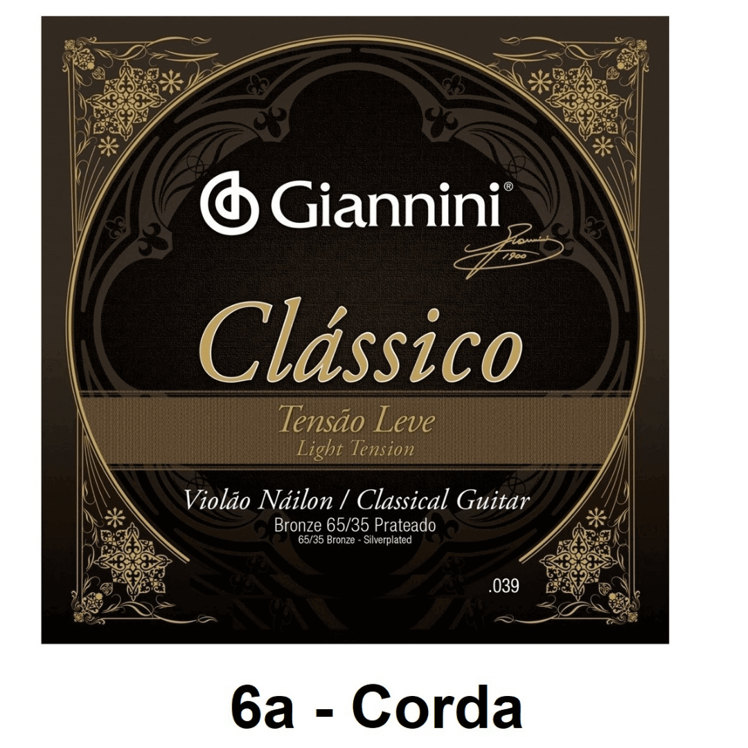 Corda Avulsa Violão Nylon Giannini Clássico Bronze 65/35 Prateado Tensão Leve 0.039 - GENWPL.6 - 6a