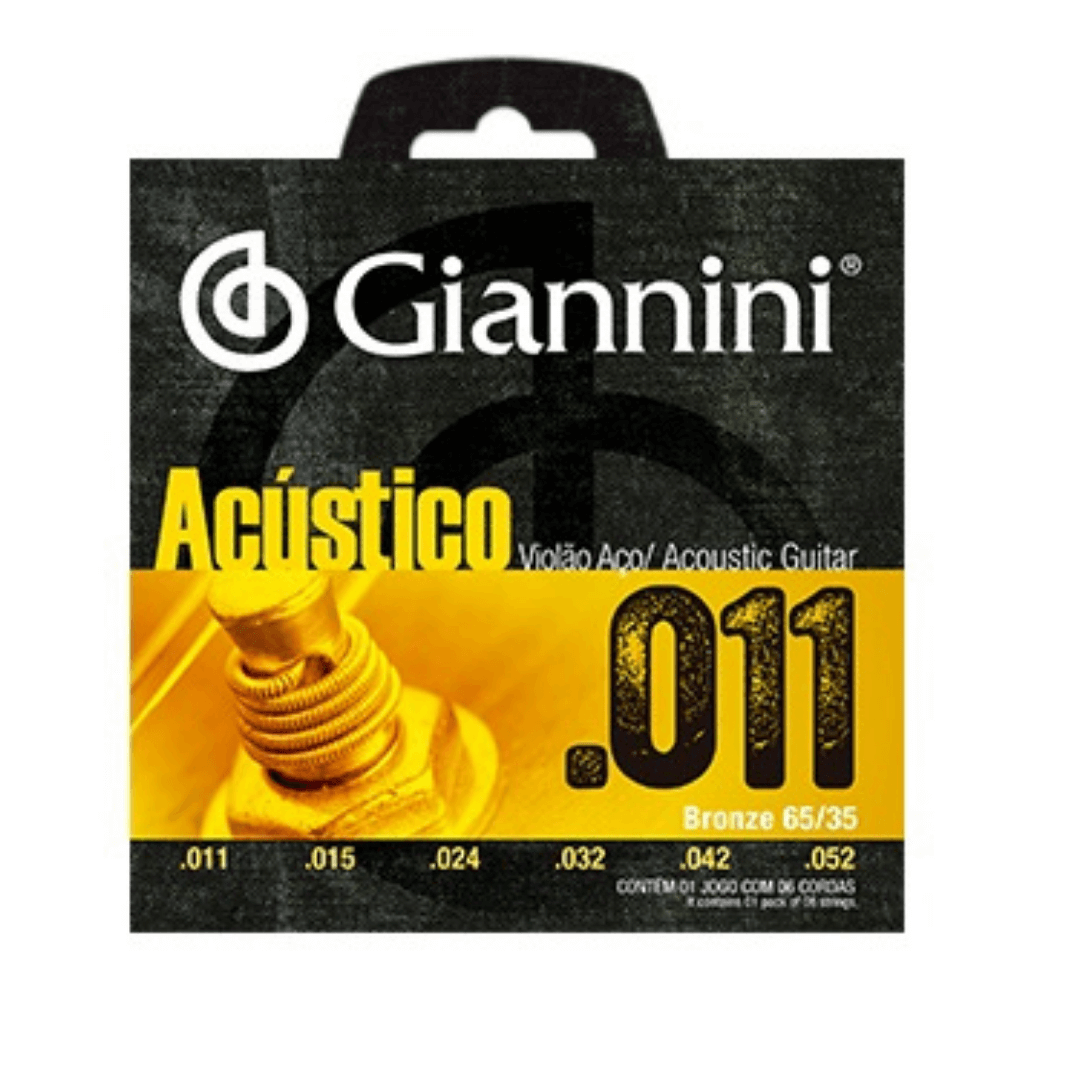 Encordoamento Acústico Para Violão Aço .011 Giannini GESPW - Jogo de Cordas