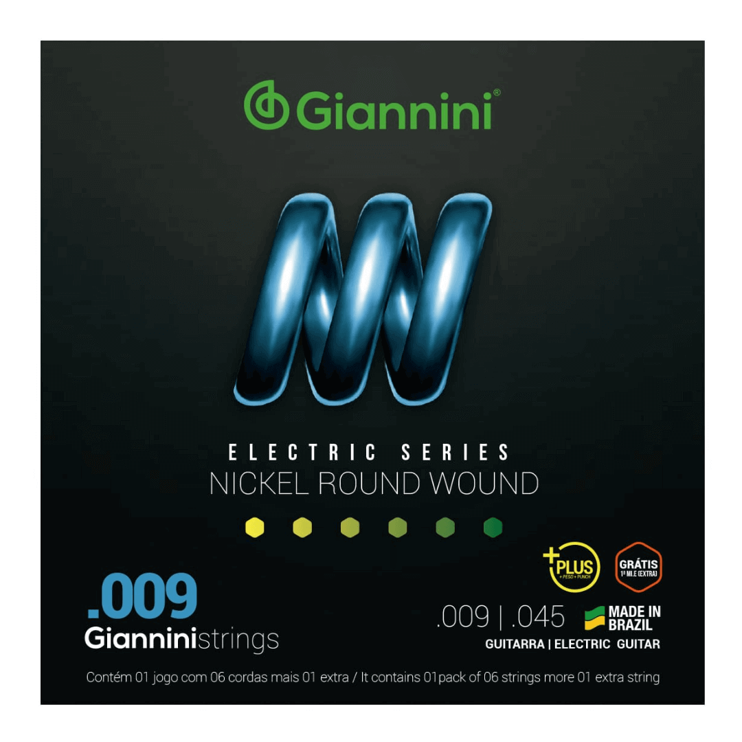Encordoamento Com Revestimento Em Níquel Guitarra Plus 0.009 - Giannini GEEGSTP.9