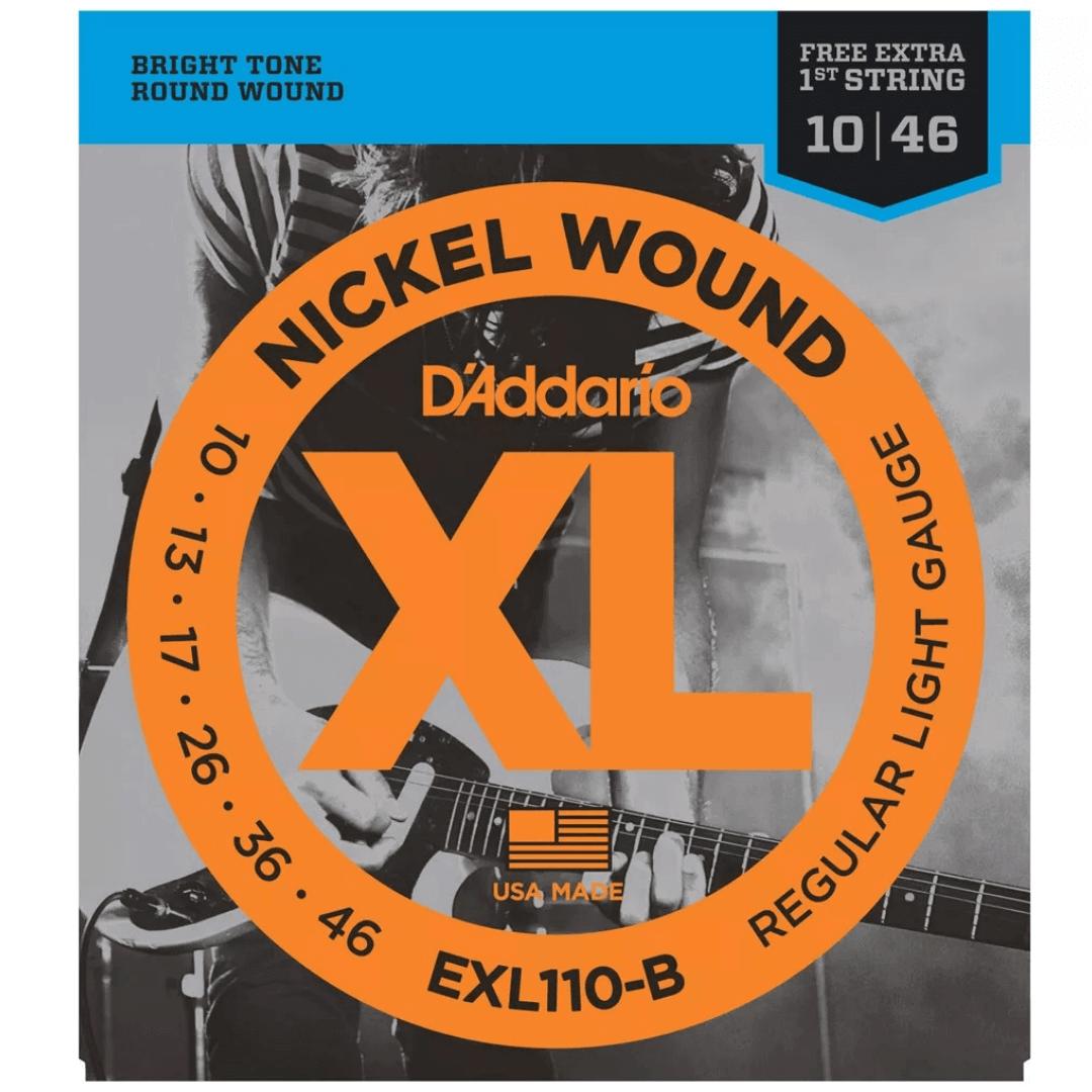 Encordoamento Guitarra D'Addario 010-046 EXL110-B Regular Light - com corda extra
