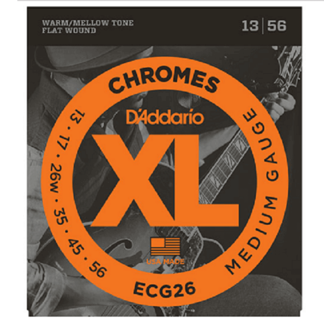 Encordoamento Guitarra D'Addario 13-56 ECG26 Chromes Flat Wound, Medium