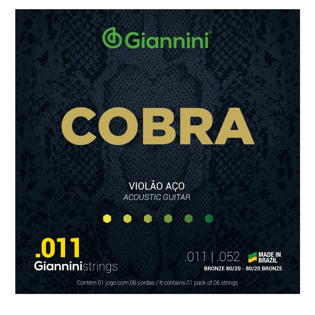 """Encordoamento Violão Aço Cobra Super Light 0.011"""" Bronze 80/20 Giannini CA82SL"""