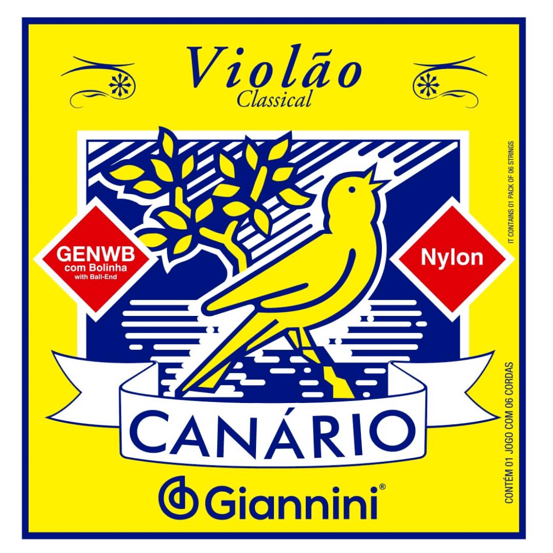 Encordoamento Violão Nylon Canário Média Com Bolinha Giannini GENWB