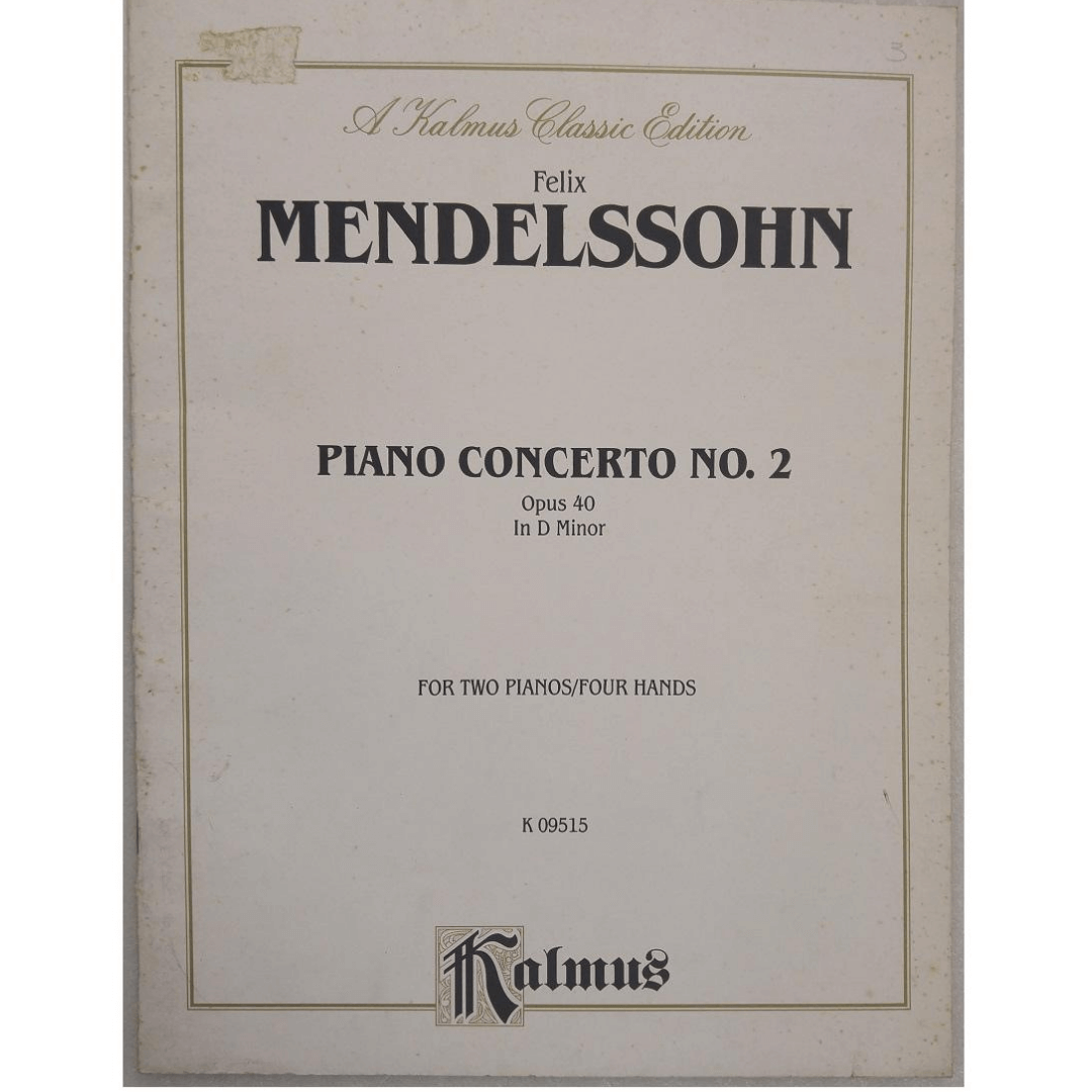 Felix Mendelssohn Piano Concerto no. 2 Opus 40 In D Minor for Two Pianos/four Hands K09515 Kalmus