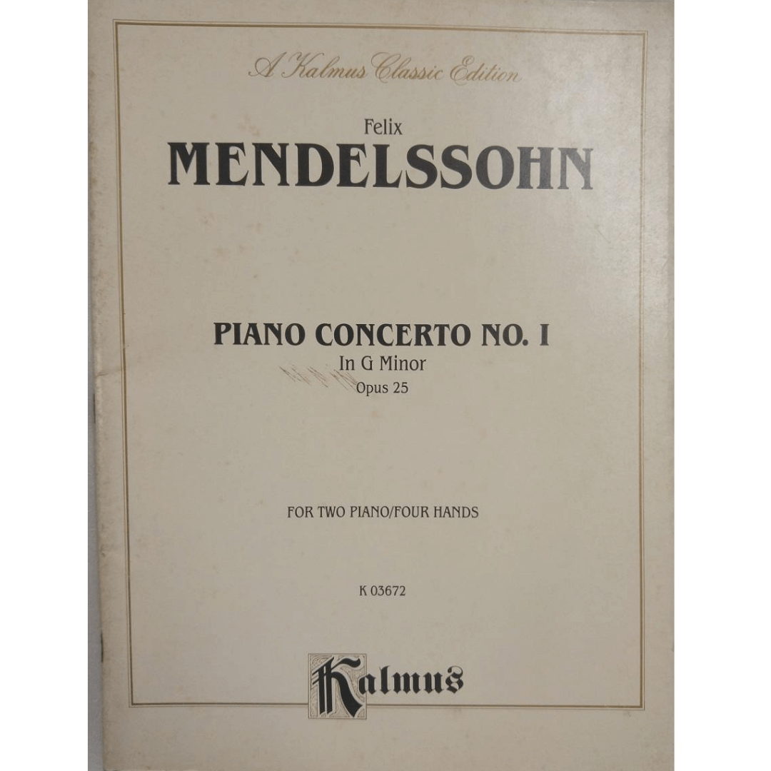 Felix Mendelssohn Piano Concerto no. I In G Minor Opus 25 for Two Piano/four Hands K03672